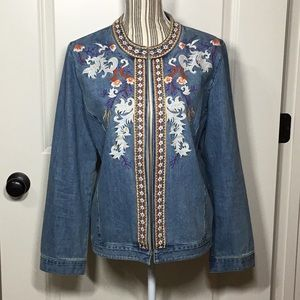 Chico's Embroidered Open-Front Denim Jacket